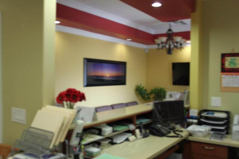The waiting room from the receptionist's desk